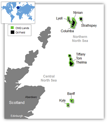 Map Of Uk Oil Fields.Canadian Natural Resources North Sea